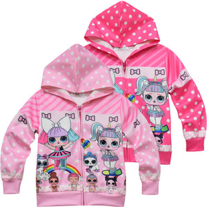 new Cartoon Doll Girls Hoodies Autumn Spring Kids Long Sleeve Sweatshirts Children hooded Hooded zipper Top Clothing Hoody Christmas outfits