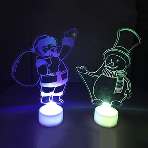 Wholesale Christmas Changing Color Night Light Acrylic Xmas Tree Santa LED Lamp Home Party Decor DTT88