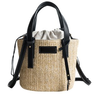 Straw Bucket Shoulder Bag Woven Beach Bag Summer Trendy Crossbody Bags Fashion Woman Ladies Rattan Bags Bolsa De Verao#RH40