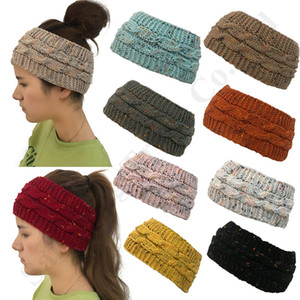 Wholesale Women Brand Confetti Knit Headbands C Logo Headwraps Chunky Stretchy Warm Ribbed Ponytail Hat Crochet Caps Beanie Hair Band Accessory C92403
