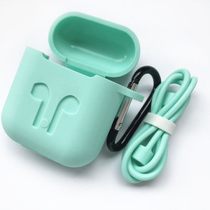 Silicone Case for Airpods Earphone wireless Bluetooth headset protective sleeve Cover Accessories with Carabiner Anti-lost Rope free ship