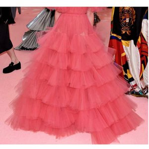Wholesale High End Coral Red Ruffles Tiered Long Tutu Ball Gowns Ruffles Lush Women Tutu Skirt Bridal Tulle Skirt Women