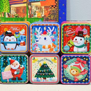 Wholesale Cartoon Square Bump Candy Box Tinplate Gifts Storage Case Christmas Series Printed Small Sugar Organizer For Party Decorations im E1