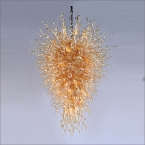 Wholesale Hot Sae Blown Glass Chandeliers Modern handmade Dale Chihuly Style Pendant Lamps Custom Made Hanging LED New Clear Gold lights for Hotel