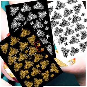 Wholesale Nail Art Stickers Manicure Design Decoration Flowers Black White Gold Decals for Nail Decoration Stickers Back Glue Nails Art
