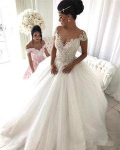Newest Short Sleeve Ball Gown Wedding Dresses Appliques Beaded Lace up Back Tulle Bridal Gowns Princess Plus Size Bride Wedding Gown