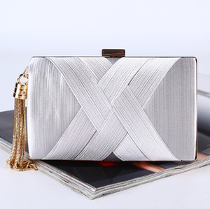 Free shipping dinner bag new handmade tassel pendant evening dress large capacity dress bag high-grade silk clutch bag