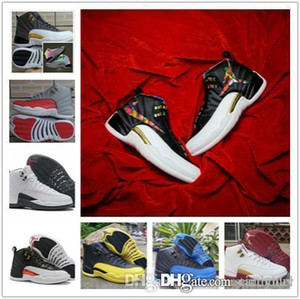 Wholesale Cair JORDAN Jumpman XII Flash Of Light Basketball Shoes For taxi High Quality Mens Retro Discoloration flu game Sports Sneakers