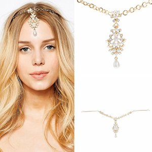 Wholesale Rhinestone Bridal Hair Chain Pearl Forehead Headpiece Crystal Wedding Indian Head Jewelry For Girls Women Hair Accessories