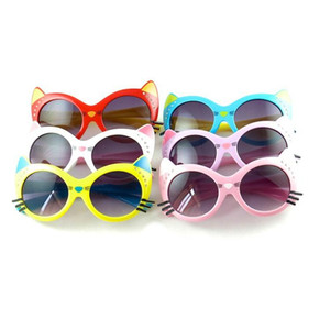 Fashion Cartoon Cat Eye Children Sunglasses Kids Girls Boys Anti UV Sun glass Summer Beach eye Glasses New Unique Design