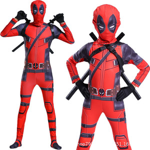 Wholesale Kid Deadpool Costume with Mask Superhero cosplay Suit Boy One Piece Full Bodysuit Halloween kid costumes for part