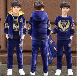 2019 new boy autumn and winter models plus velvet warm three-piece suit gold velvet fleece sportswear hooded children's clothing on Sale