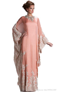 Wholesale 2019 New lace evening dress with long sleeves dubai decals kaftan dress fashion dubai Arab clothing Party Dresses072