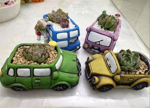 Retro Creative Car Flower Pot Mini Garden Planters Garden Plant Succulent Planter Desk Flower Pot Cactus Plant Pot Home Office Decoration