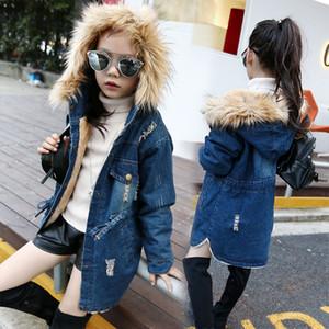 kids clothes girls denim jacket Coat children plus thick velvet hoodie Spring autumn Winter Tops Outwear baby Clothing C1753