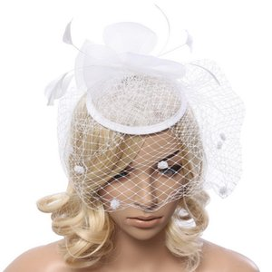 Wholesale Fascinators Hat Feathers Headband Party Derby Wedding Hair Accessories for Women White