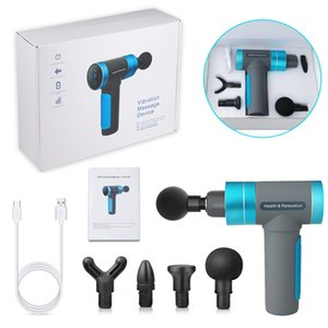 terapia de dor muscular venda por atacado-Muscle Massage Gun Charge USB Cabeças Velocidade LCD Touch Screen Massager Therapy Gun Exercer Músculo Dor Body Relaxation Relaxation Shipping