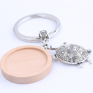 Wholesale shukaki Fit mm wood cabochon keychain base setting with turtle charm diy metal keyring for key chain making