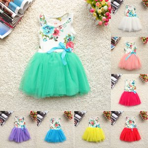 Wholesale 2018 new Girls Baby Kids Toddlers Summer Floral Print dress Bow sleeveless Tutu Dress children s clothing