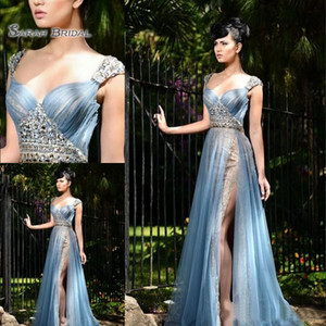 Wholesale 2020 A-Line Lace Side Split Evening Dresses Sweetheart Sexy Tulle Boutique Occasion Crystals Party Wear Beauty Prom Dress