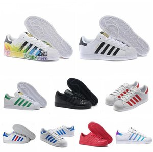 Free Shipping Superstar White Black Pink Blue Gold Superstars 80s Pride Sneakers Super Star Women Men Sport Casual Shoes EU SZ36-45 on Sale