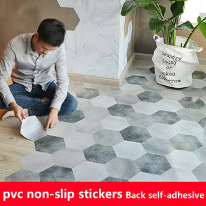 Wholesale tile decals for kitchen for sale - Group buy 10pcs PVC Waterproof Bathroom Floor Sticker Peel Stick Self Adhesive Floor Tiles Kitchen Living Room Decor Non Slip Decal