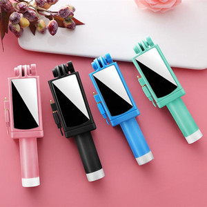 Wholesale New Mini Wired Selfie Stick Rotating With Mirror Foldable Stable Stainless Steel For iPhone Android Universal inch Mobile Phone