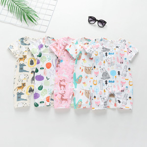 Wholesale baby clothes fox resale online - Ins Baby Boy girl Clothes Infant clothing Jumpsuits Cartoon Scrawl slooth fox bear Animals Print Romper Soft Breathable V042