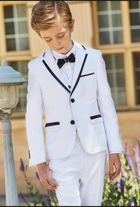 Wholesale Popular White Boys Formal OccasionTuxedos Notch Lapel Side Vent Kids Wedding Tuxedos Child Suit Holiday clothes(Jacket+Pants+Tie+Vest) 45