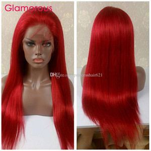 Wholesale red indian human hair lace wig resale online - Red Wig Human Hair Lace Wig Peruvian Brazilian Indian Malaysian Straight Hair Glamorous short long Full Lace Wig for black women