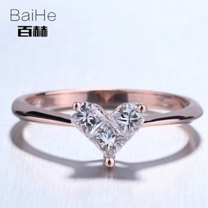 Wholesale BAIHE Solid 14K Rose Gold(AU585)0.46CT Certified H SI Round Single Cut Genuine Natural Diamond Wedding Women Casual Sporty Ring