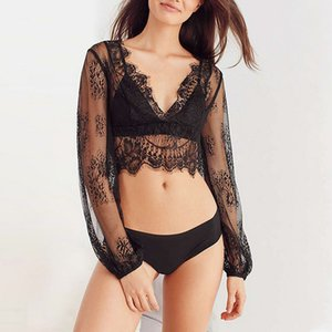 Wholesale Black Lace Hollow Crochet Swimwear Deep V neck Sexy Long Sleeve Cover Up Beach Swimming Bikinis Bathings Fashion