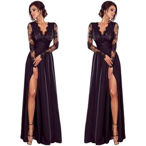 Wholesale Lady Deep Lace Evening Party Ball Prom Wedding Long Dress Length401