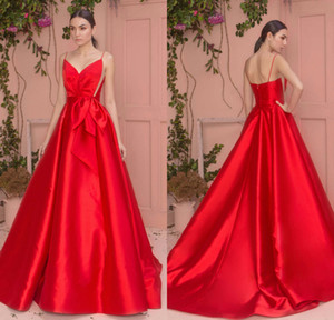 Wholesale Zuhair Murad Red Evening Gowns Spaghetti A Line Satin Sweep Train Custom Made Cheap Prom Dress Bridesmaid Gowns Party Wear