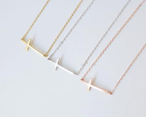 Wholesale 10 geometric Horizontal Sideways Cross religion pendant necklace Simple Tiny Small Cross necklace Faith Christian Cross necklace jewelry