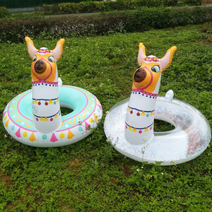 Wholesale Children s Glitter Alpaca Inflatable Swimming Ring Floating Swim Ring Animal Shape Swimming Pool Float for Kids Water Fun Toys