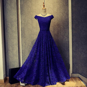 Wholesale 2019 Real Pictures Off-the-shoulder Royal Blue Lace Evening Dresses New Appliqued Long Evening Gowns Short Sleeves Prom Gowns Lace Up