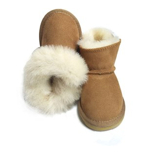 Winter Fur Kids Snow Boots Baby Australia Sheepskin Shoe Girls Warm Baby Boot Non-slip Waterproof Boys Bootie Shoes for Children T191015 on Sale