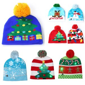 Wholesale Led Christmas Hat Snowman Knitted Beanies Cap For Snowflake Christmas Tree Women Kids Adult Warm Hair Ball Light Up Hip Hop Hats HH7