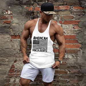 Muscle guys American Flag Gyms clothing Mens Skulls Singlets Bodybuilding Stringer Tank Top Shirt Cotton sleeveless Fitness Vest #271877