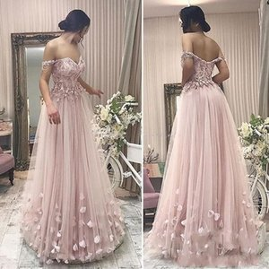 Wholesale 2019 New Arrival Dusky pink Prom Dresses A Line Off Shoulder Lace Appliques Tulle Floor Length Cheap Homecoing Party Dress Evening Gowns