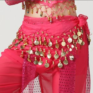 Wholesale Girls Bellydance Costume Sequins Belly Dance Hip Scarf Woman Coins Lace up Waist Belt Belley Dancing Accessories Waistband