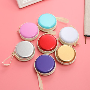 Wholesale Pure Color Round Storage Box Coin Purses Mini Earphone SD Card Case Carrying Pouch