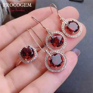Wholesale 5A New Natural Garnet Fine Jewelry sets for women Party Necklace Ring Earrings Gorgeous Genuine Gemstones Solid silver