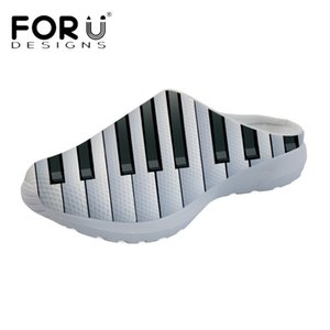 wholesale Music Notes with Piano Keyboard 3D Printing Women House Sandals Ladies Mesh Slippers Flats Girls Shoes Zapatos Mujer