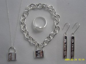 SALE Brand designer 925 Silver fashion jewelry necklace and bracelet +earring with box Hot free shipping on Sale