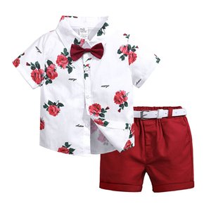 Baby boys designer clothes outfits white floral V-neck shirt+red shorts pants 2pcs boys clothing set children summer outwear
