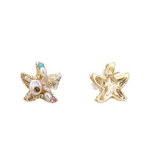 Wholesale seas star for sale - Group buy Trendy Brand Sea Star Copper Stud Earrings Exquisite Tiny Natural Pearls Gem Jewelry for Girl Party S925 Brincos