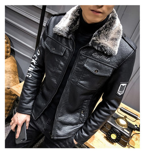 Mens Designer Solid Locomotive Jackets Letter Embroidery Fashion PU Leather Faux Fur Collar Thick Winter Clothes on Sale