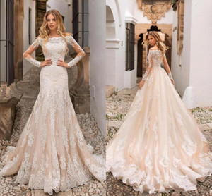 Wholesale 2019 New Beautiful Champagne Mermaid Wedding Dresses Off Shoulders Lace Appliques Sheer Long Sleeves Tulle Long Bridal Gowns BC5
